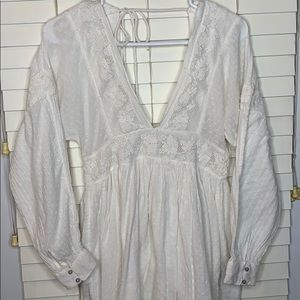 Free People white long sleeve dress | Size M